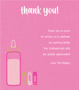 Bottle & Pins Pink Thank You